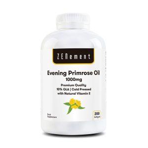 Aceite de Onagra 1000 mg, Calidad Premium: 10% GLA, Prensado en frío - 200 Cápsulas