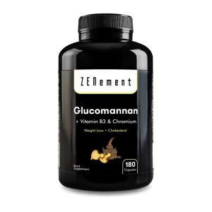 Glucomanano con Vitamina B3 y Cromo - 180 Cápsulas