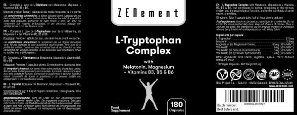 L-Triptófano Complex con Melatonina, Magnesio + Vitaminas B3, B5 y B6 - 180 Cápsulas