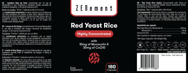 Levadura Roja de Arroz concentrada con 10mg de Monacolina K y 30mg de Coenzima Q10, 180 Cápsulas de Zenement