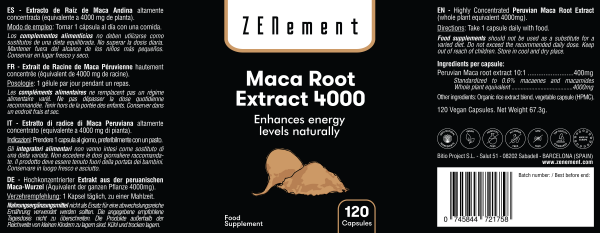 Maca Andina, altamente concentrada 4000mg, 120 cápsulas