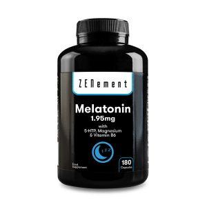 Melatonina 1,95 mg con 5-HTP, Magnesio y Vitamina B6 - 180 Cápsulas