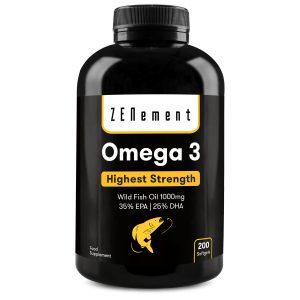 Omega-3 de Aceite de pescado salvaje 1000mg, máxima concentración en EPA (35%) y DHA (25%) - 200 Cápsulas