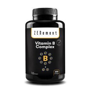 Complejo de Vitaminas B Contiene las ocho Vitaminas B esenciales (B1, B2, B3, B5, B6, B12, Biotina y Ácido Fólico) + Vitaminas C y E - 200 Cápsulas