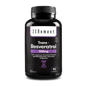 Trans-Resveratrol 500 mg, con Nicotinamida, Quercetina y Piperina, 90 Cápsulas