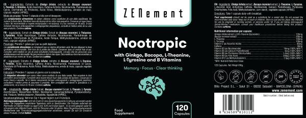 Nootropico con Ginkgo, Bacopa, Teanina, Tirosina y Vitaminas B - 120 Cápsulas