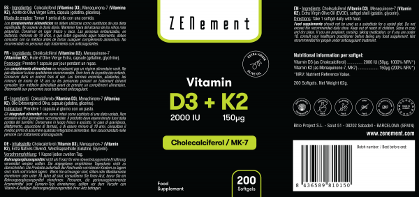 Vitamina D3 + K2, Colecalciferol (2000 UI) & MK-7 (150 μg), 200 Perlas