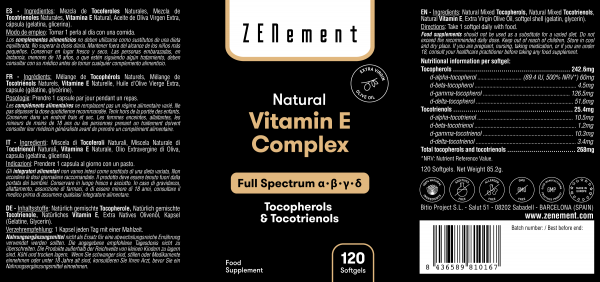 Complejo de Vitamina E Natural, Tocoferoles & Tocotrienoles, Espectro completo, 120 Perlas