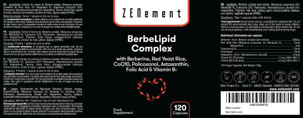 Berbelipid Complex con Berberina, Levadura de Arroz Rojo, Policosanol, Q10, Astaxantina, Ácido Fólico y Vitamina B1 - 120 Cápsulas
