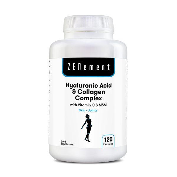 Acide Hyaluronique et Collagène, avec MSM et vitamine C, 60 capsules