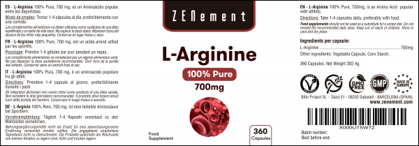 L-Arginine 100% Pure, 700 mg - 360 Gélules