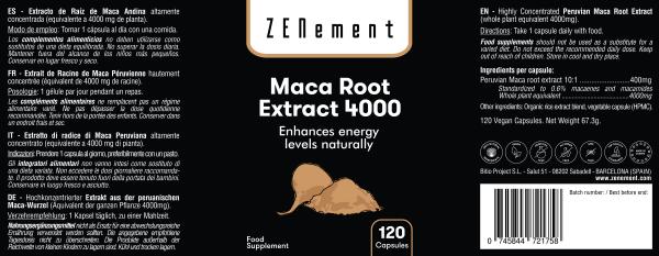 Extrait de Racine de Maca Péruvienne pure hautement concentrée, 120 Gélules