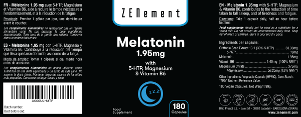 Mélatonine 1,95 mg avec 5-HTP, Magnésium et Vitamine B6 - 180 Gélules