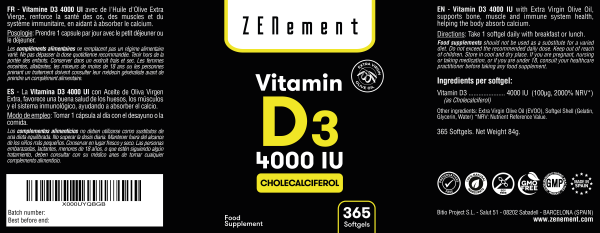 Vitamine D3 4000 UI Approvisionnement Annuel - 365 Capsules