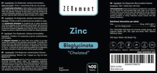 Zinc, (Bisglycinate) 12,5mg par dose 400 Comprimés / 800 Doses | Chélaté