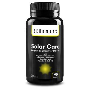 Solar Care avec Polypodium leucatomos, Thé Vert, Caroténoïdes, Sélénium et Vitamines A, C, D et E - 90 Gélules