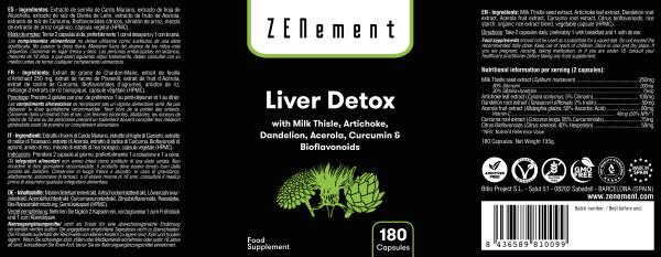 Détox foie, avec Chardon Marie, Artichaut, Pissenlit, Acérola, Curcuma et Bioflavonoïdes, 180 Gélules