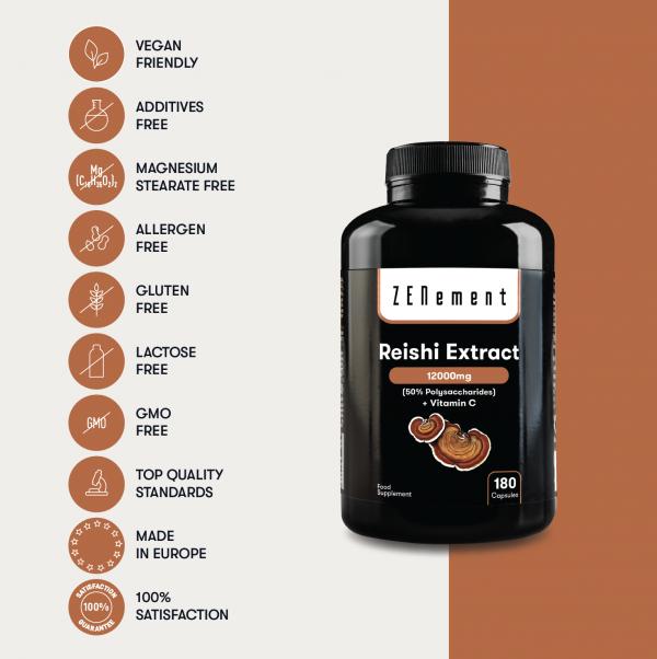 Reishi Extract 12000mg, avec Vitamine C, 180 Gélules   Polysaccharides à 50%
