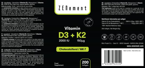 Vitamine D3 + K2, Cholécalciférol (2000 UI) & MK-7 (150 μg), 200 Capsules