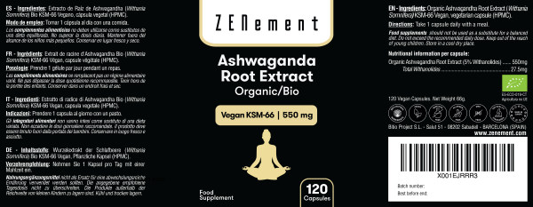 Extrait de Racine d'Ashwagandha BIO KSM-66 Végan   550 mg - 120 Gélules