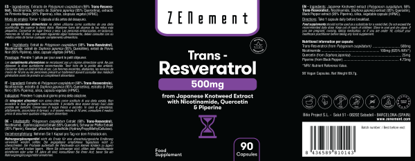 Trans-Resveratrolo 500 mg, con Nicotinamide, Quercetina e Piperina, 90 Capsule