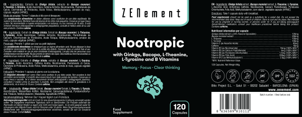 Nootropico con Ginkgo, Bacopa, Teanina, Tirosina e Vitamine B - 120 Capsule