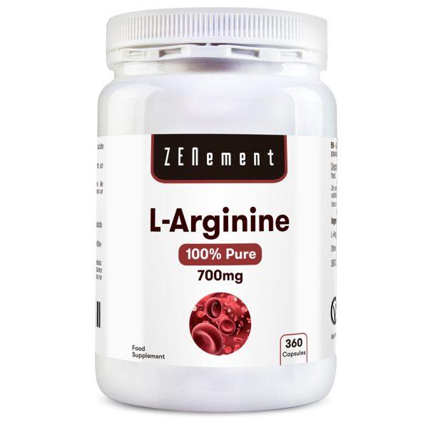 L-Arginine 100% Pure, 700mg - 360 Capsules