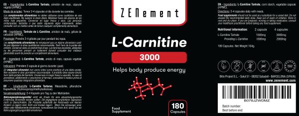 L-Carnitine - 180 Capsules