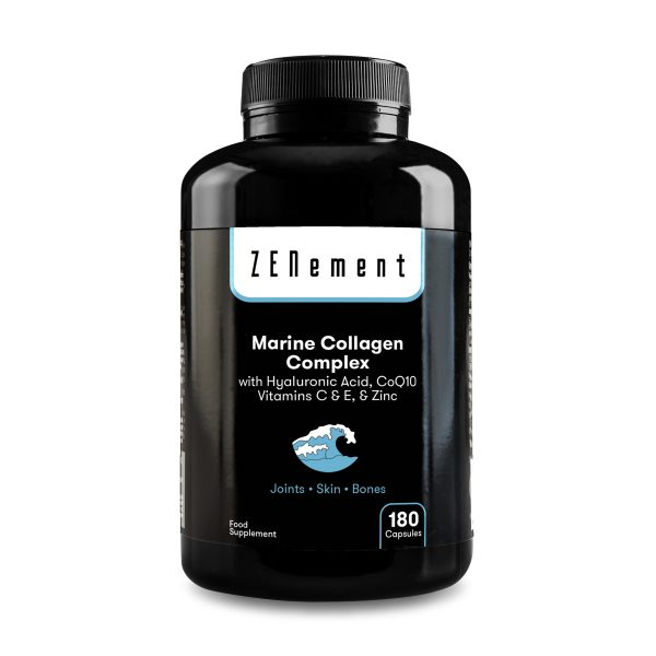 Marine Collagen Complex with Hyaluronic Acid, CoQ10, Vitamins C & E, & Zinc - 180 Capsules