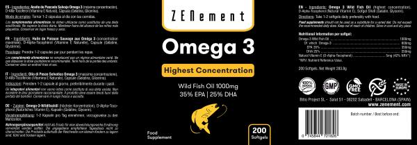 Omega-3 Highest Strength Wild Fish Oil 1000mg 350mg EPA   250mg DHA - 200 Softgels