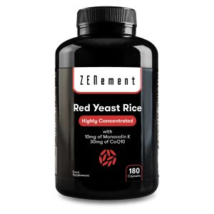 Red Yeast Rice with 10mg of Monacolin K & 30 mg of Coenzyme Q10, 180 Capsules, Zenement