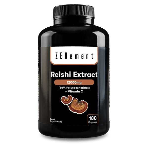 Reishi Extract 12000mg, + Vitamin C, 180 Capsules | 50% Polysaccharides