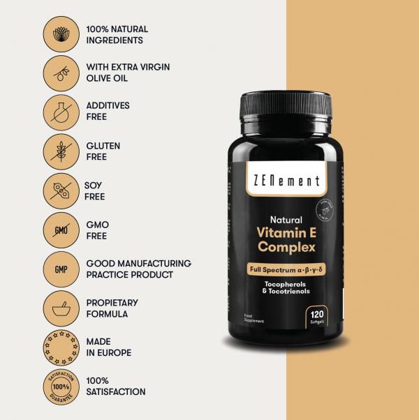 Natural Vitamin E Complex, Tocopherols & Tocotrienols, Full Spectrum, 120 Softgels