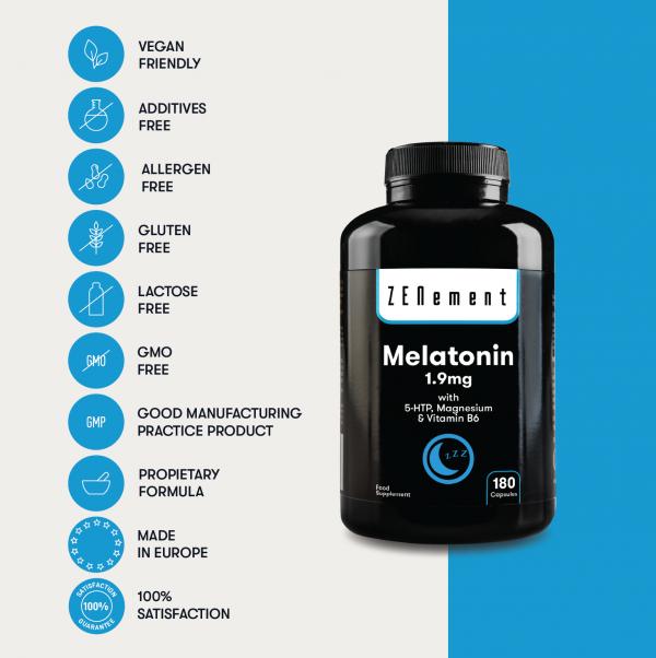 Melatonin 1.95mg with 5-HTP, Magnesium & Vitamin B6 - 180 Capsules