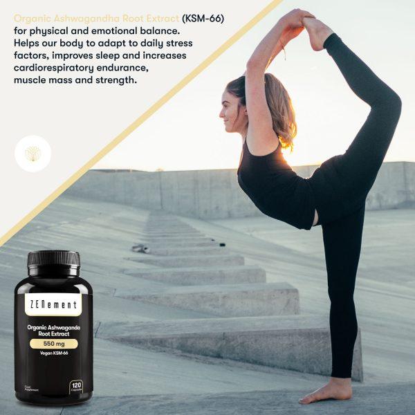 Organic Ashwagandha Root Extract Vegan KSM-66 | 550mg - 120 Capsules